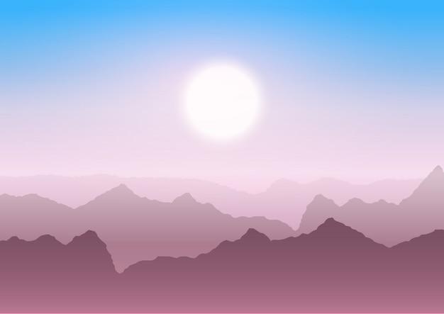 日没時の山の風景 無料ベクター