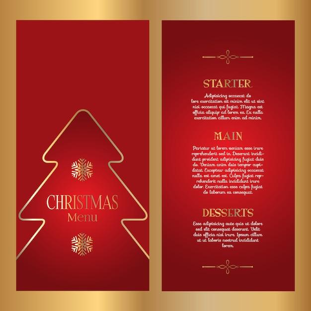 装飾クリスマスメニューデザイン 無料ベクター