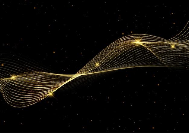Абстрактный фон с золотыми волнами Бесплатные векторы