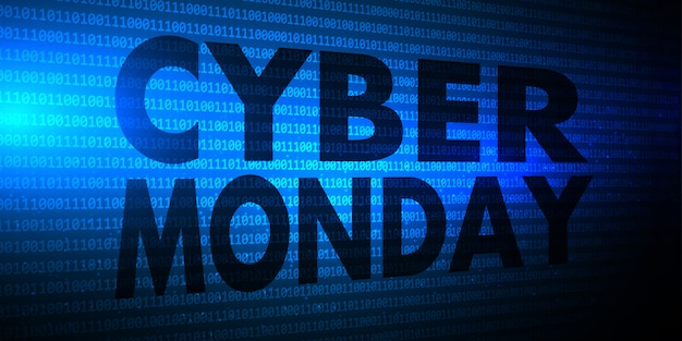 Кибер понедельник баннер с дизайном двоичного кода Бесплатные векторы