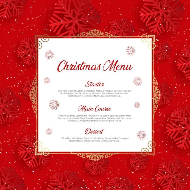スノーフレークデザインのクリスマスメニュー 無料ベクター