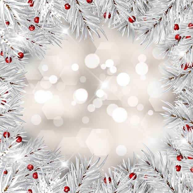 銀のクリスマスツリーの枝と赤い果実 無料ベクター