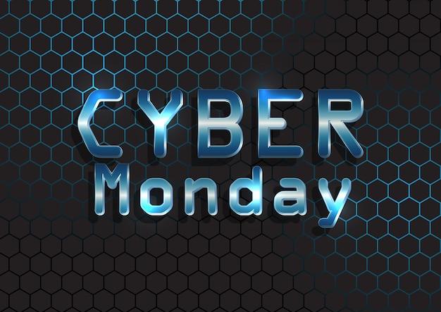 Кибер понедельник баннер с металлическим текстом на гексагональной схеме Бесплатные векторы