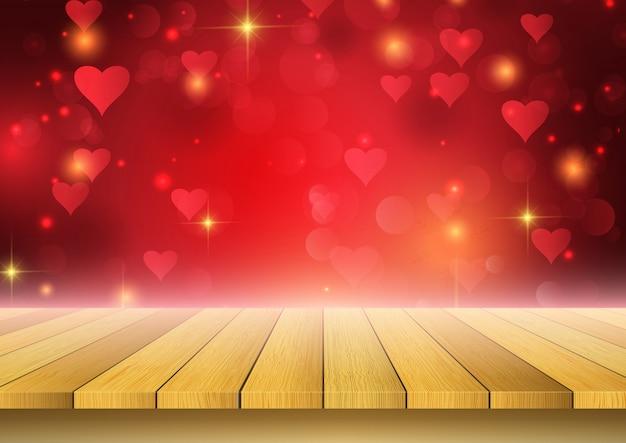 ハートデザインを探している木製のテーブルとバレンタインデーの背景 無料ベクター