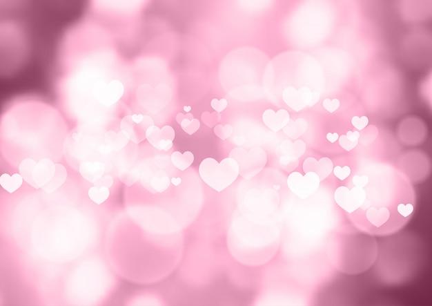 Розовые боке сердца день святого валентина фон Premium векторы