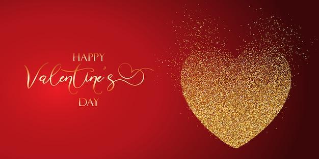 День святого валентина баннер с блестящим сердцем Бесплатные векторы