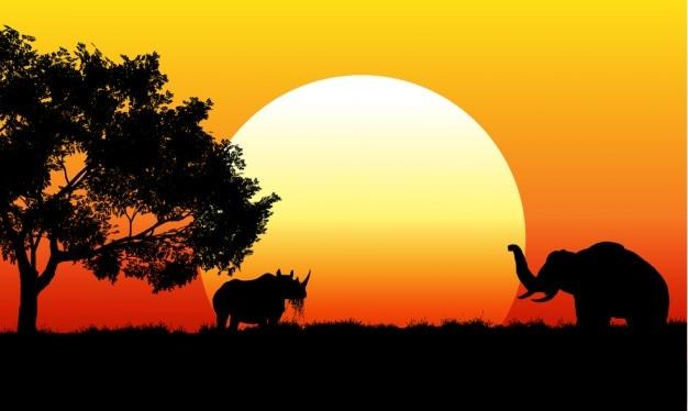 アフリカのサファリのシーン 無料ベクター