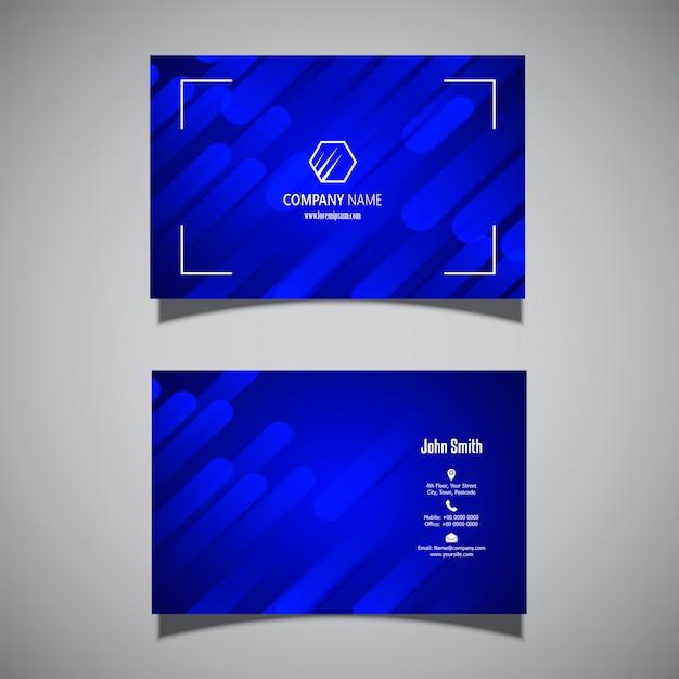 モダンなエレクトリックブルーデザインの名刺 無料ベクター