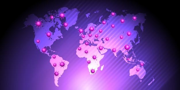 Вирусные клетки на карте мира Бесплатные векторы