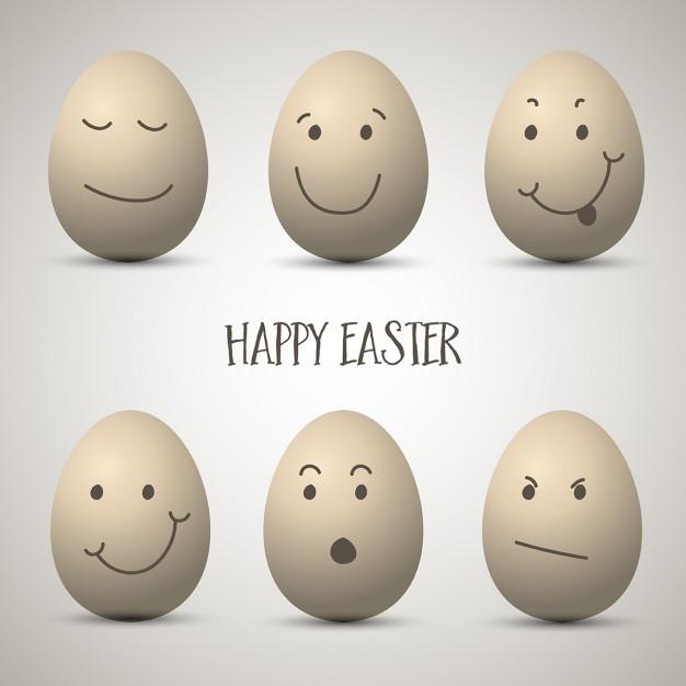 Пасхальные яйца с мило рисованной лица Бесплатные векторы