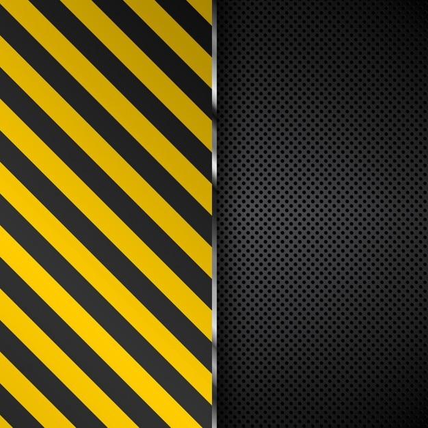 パンチングメタルの背景に黄色と黒のストライプ 無料ベクター