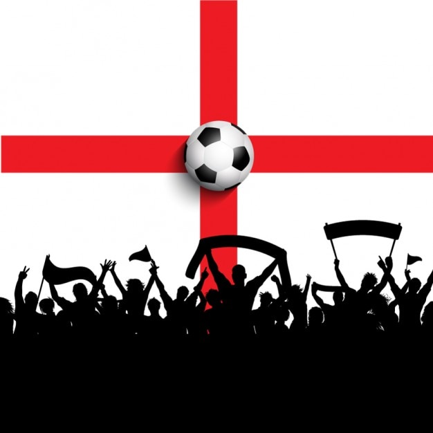 イングランドフラグの祝賀サッカー 無料ベクター