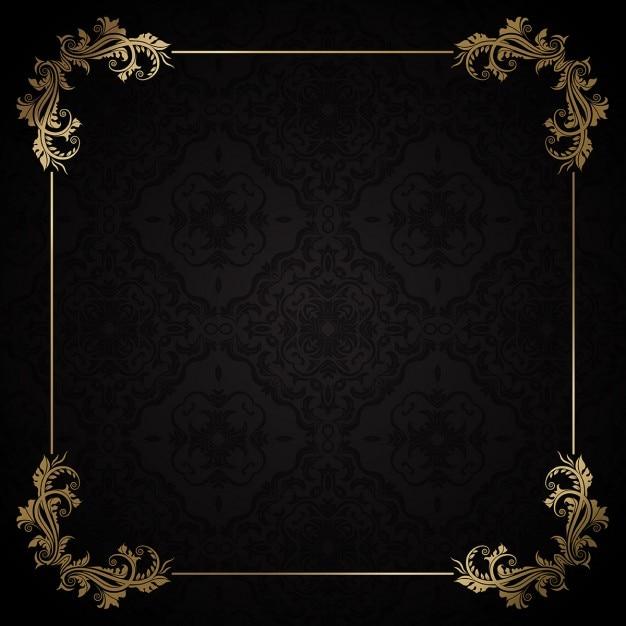 金枠付きのエレガントな装飾の背景 無料ベクター