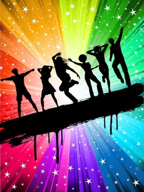 星空色とりどりの背景に踊る人々のシルエット 無料ベクター
