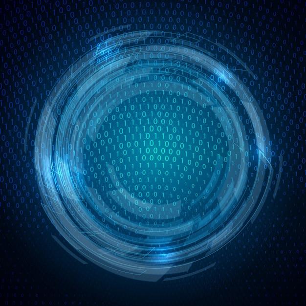 テクノバイナリコードのデザインと抽象的な背景 無料ベクター
