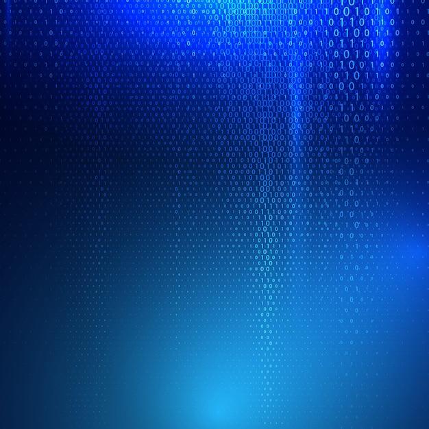抽象バイナリコードテキストによるテクノバックグラウンド 無料ベクター