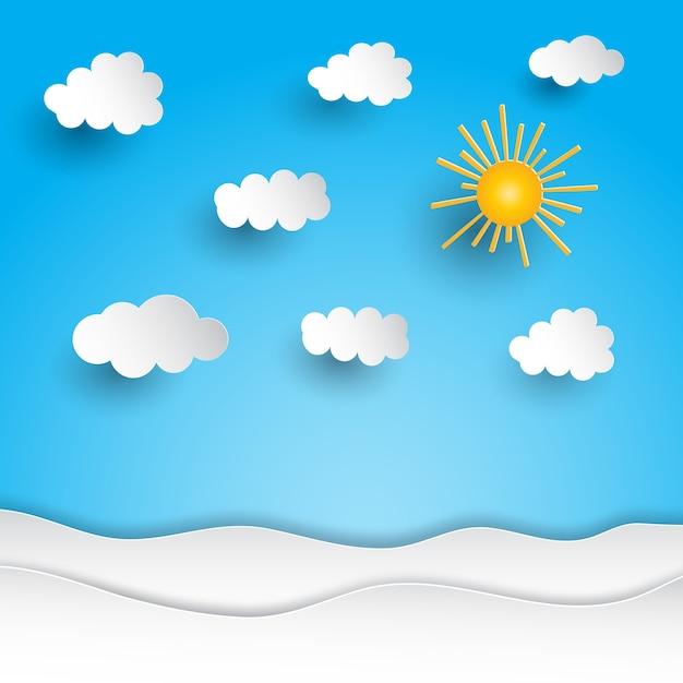 Солнечный пейзаж с вырезом из бумаги Бесплатные векторы