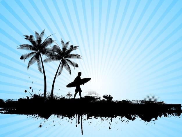 Силуэт серфер на фоне гранж пальмы Бесплатные векторы