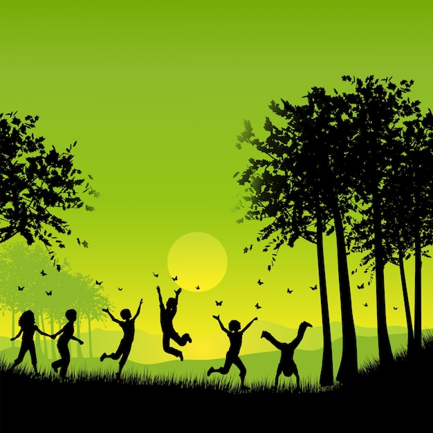 蝶を追う外で遊んでいる子供たちのシルエット 無料ベクター