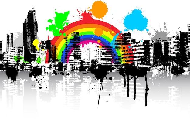 抽象的なスタイル都市のグランジシーンの背景と虹 無料ベクター