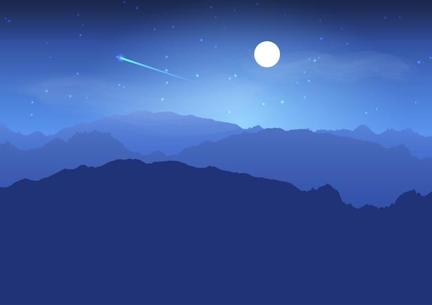 夜の山の風景 無料ベクター