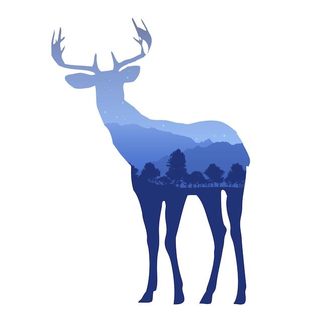 山の風景と二重露光効果を持つ鹿のシルエット 無料ベクター