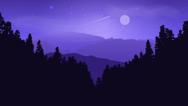 月の空に対する松の風景のシルエット 無料ベクター