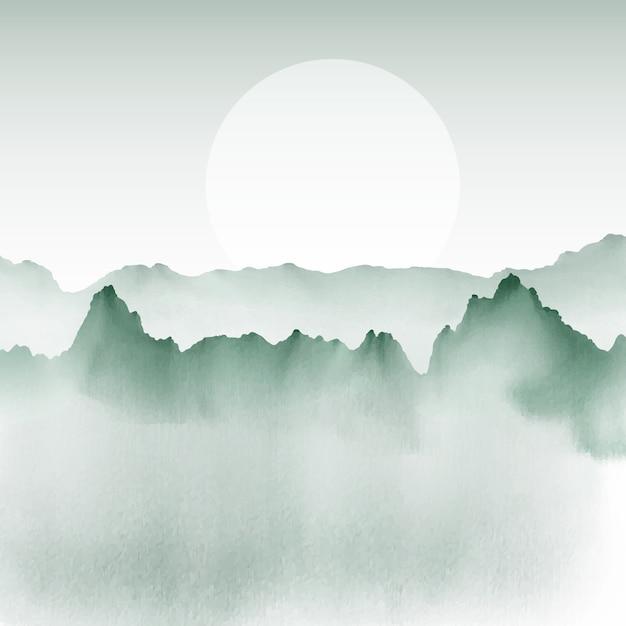 手は山の景色の背景を描いた 無料ベクター