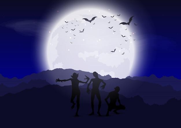 ハロウィンのゾンビ、月光の空に対して 無料ベクター