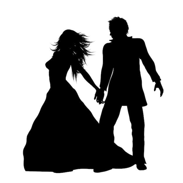花嫁、新郎のシルエット 無料ベクター