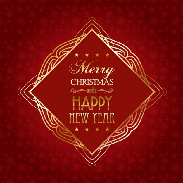 Красный рождественская открытка с золотой раме Бесплатные векторы