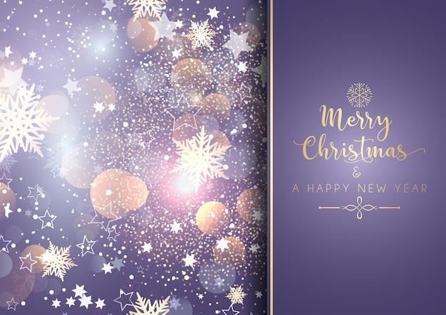 ボケライト付き装飾的なクリスマスの背景 無料ベクター