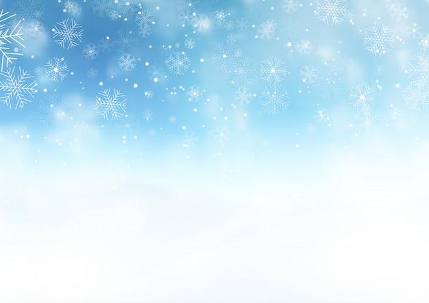 雪の多いクリスマスの風景 無料ベクター