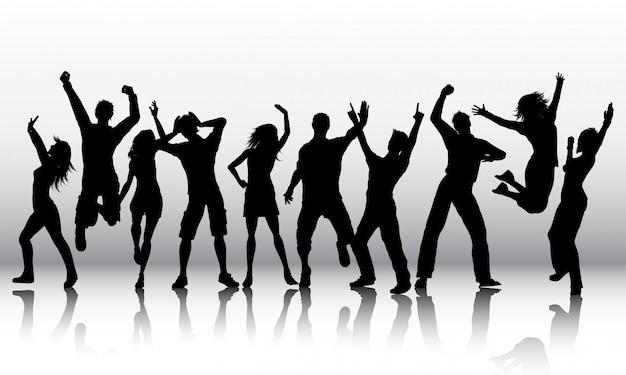 人の踊りのシルエット 無料ベクター