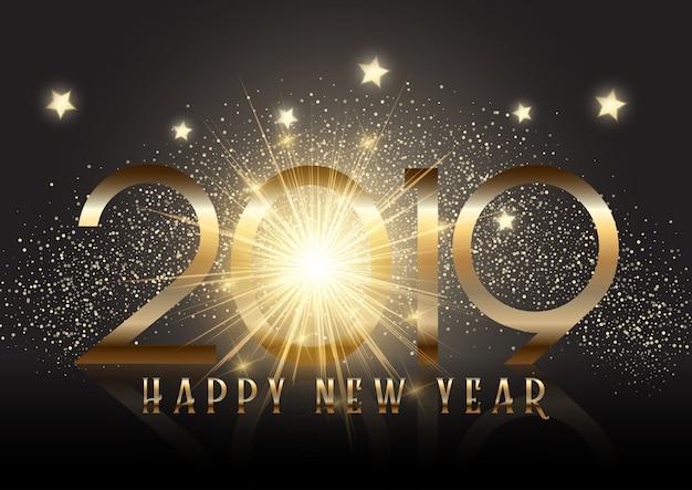 スパークル効果と金の新年の背景 無料ベクター