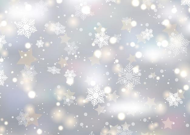雪片と星のクリスマスの背景 無料ベクター