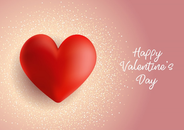 День святого валентина фон с сердцем на блеске Бесплатные векторы