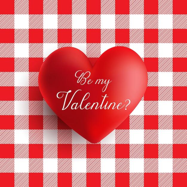 赤と白のギンガムパターンのバレンタインデーの心 無料ベクター