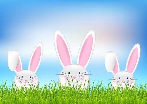 イースターのウサギの背景 無料ベクター