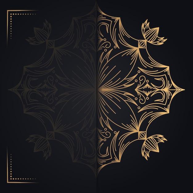 Золотая старинная открытка на черном фоне Premium векторы