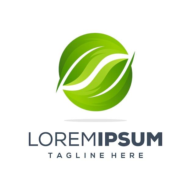 葉のロゴデザイン Premiumベクター