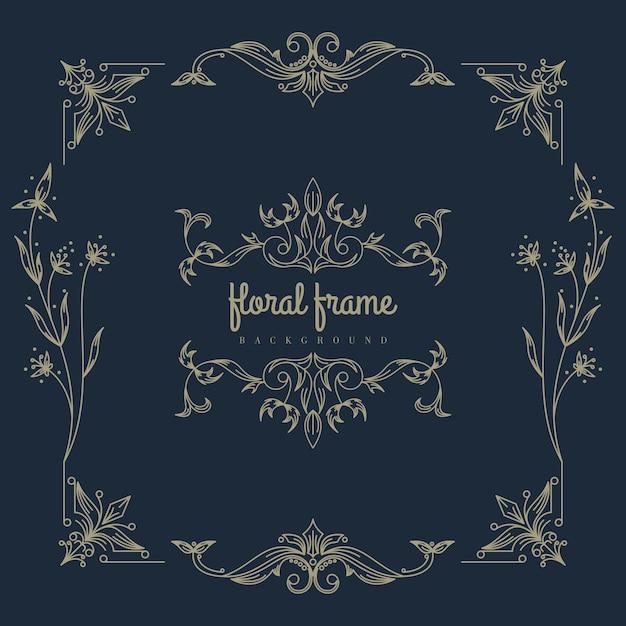 Премиальная золотая цветочная рамка Premium векторы