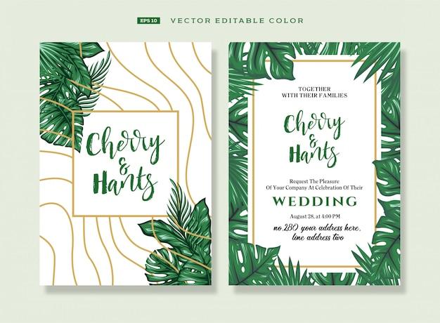 トロピカルスタイルの結婚式の招待状。 Premiumベクター