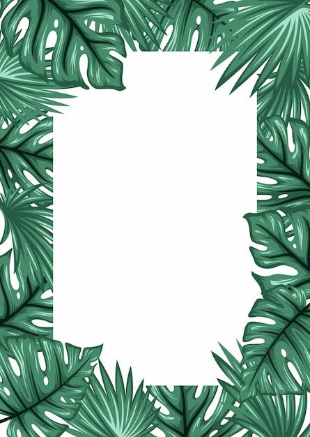 ヤシの葉のフレームの背景。熱帯グリーティングカード Premiumベクター