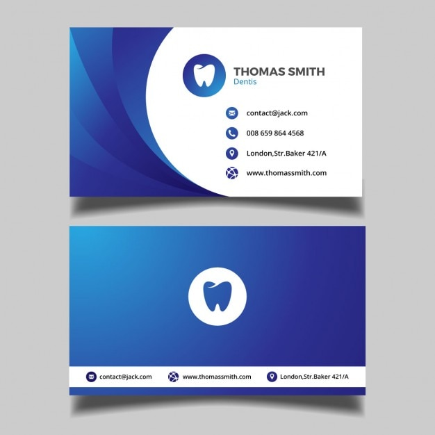 Синий визитная карточка стоматологические Бесплатные векторы