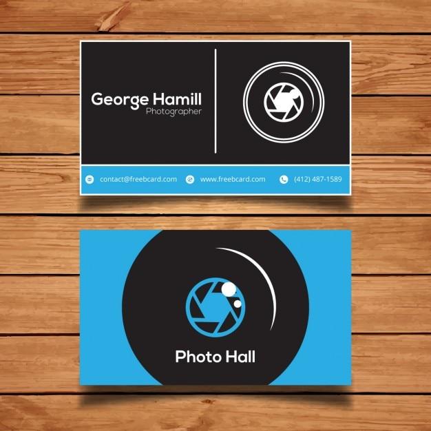 ブルーの写真ビジネスカード 無料ベクター