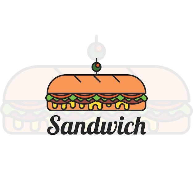サンドイッチロゴデザイン 無料ベクター