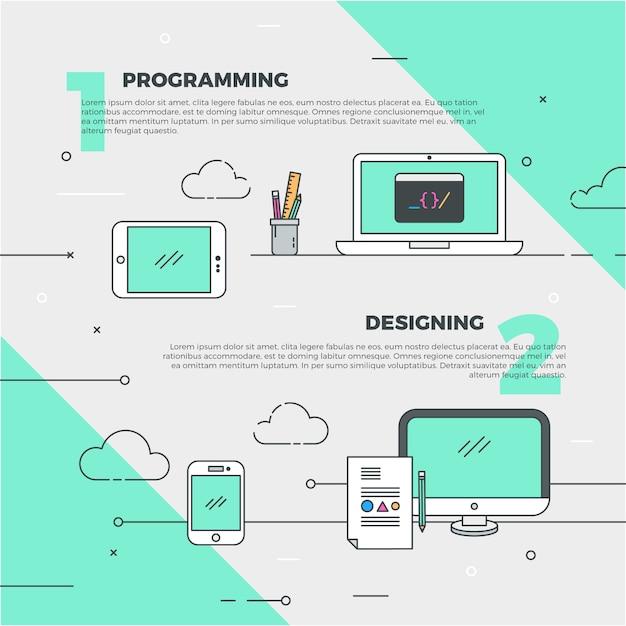 創造的なデザインとプログラミングのバナー 無料ベクター