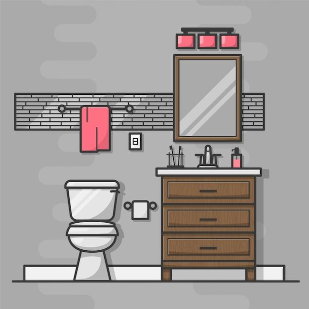 バスルームのインテリアのアイコン 無料ベクター