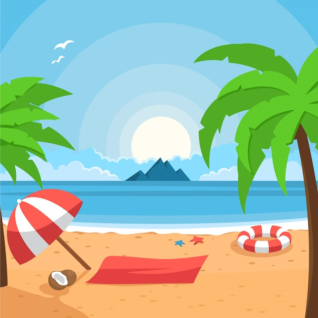 Картинки лето пляж нарисованные, любовь